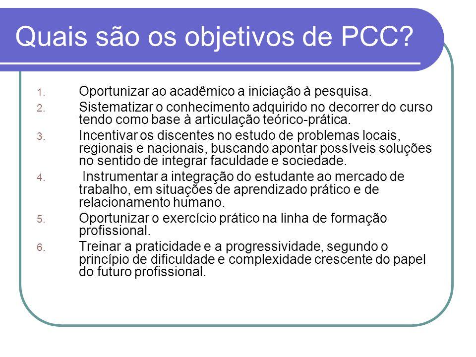 Quais são os objetivos de PCC