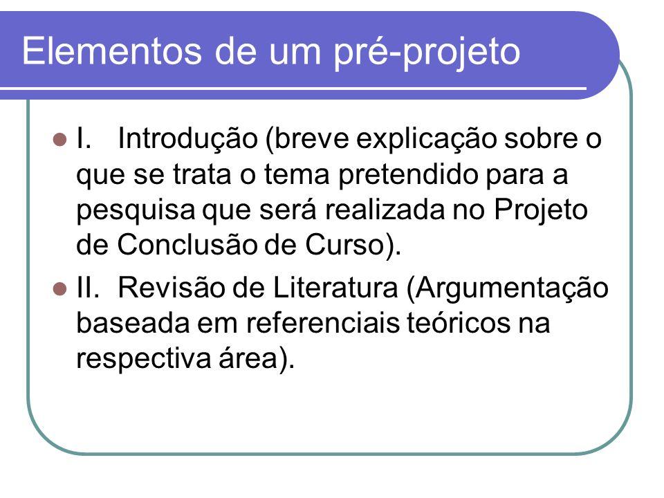 Elementos de um pré-projeto