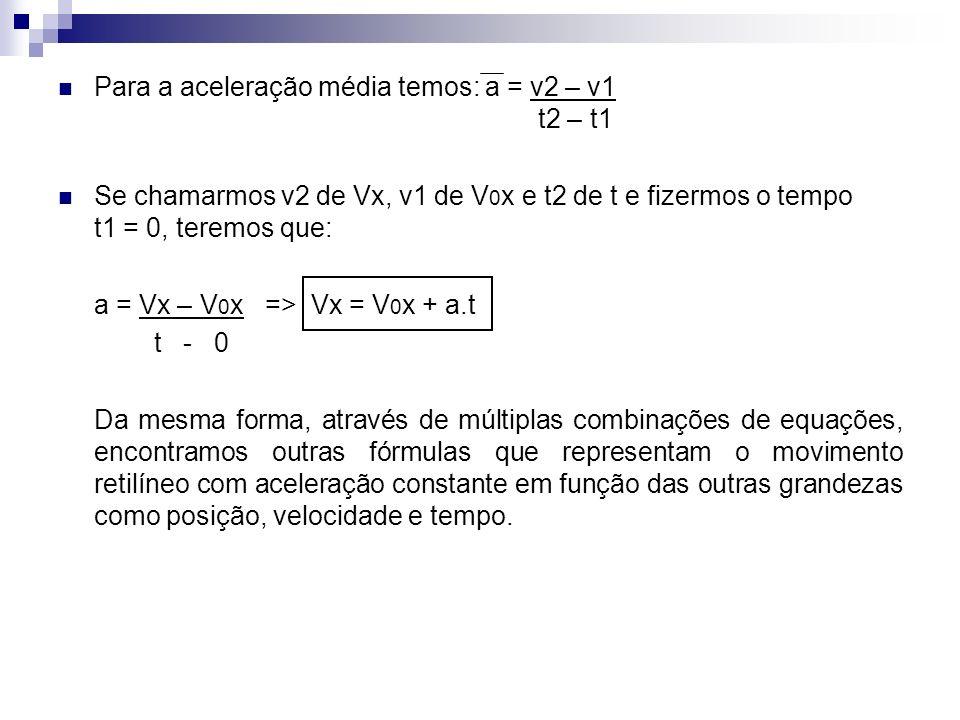 Para a aceleração média temos: a = v2 – v1 t2 – t1
