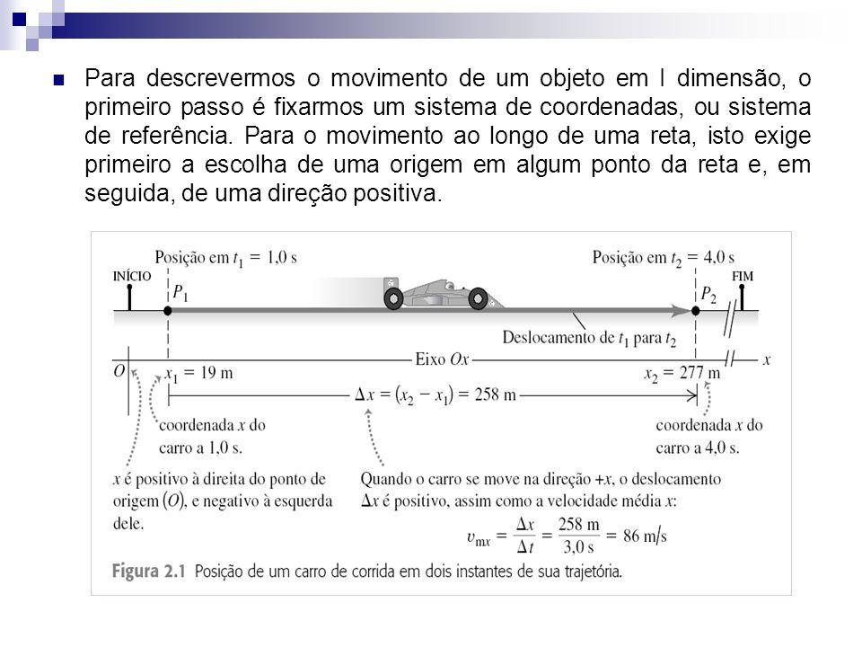 Para descrevermos o movimento de um objeto em I dimensão, o primeiro passo é fixarmos um sistema de coordenadas, ou sistema de referência.