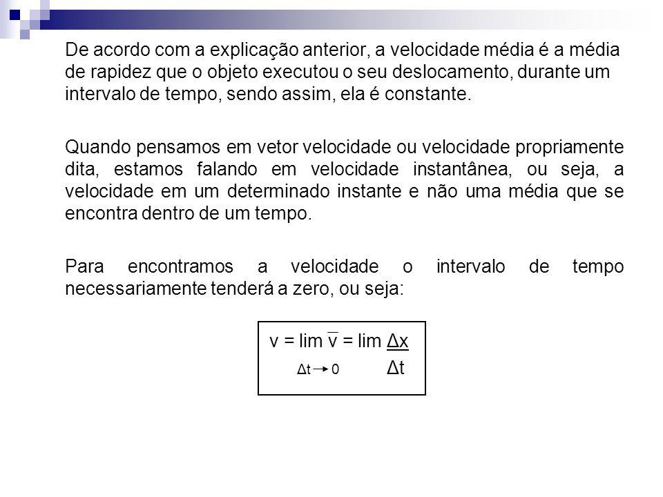 De acordo com a explicação anterior, a velocidade média é a média de rapidez que o objeto executou o seu deslocamento, durante um intervalo de tempo, sendo assim, ela é constante.