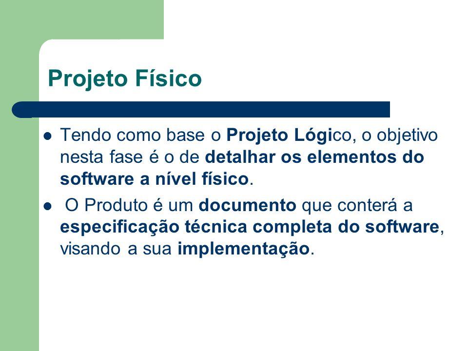 Projeto Físico Tendo como base o Projeto Lógico, o objetivo nesta fase é o de detalhar os elementos do software a nível físico.