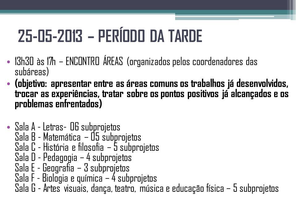 25-05-2013 – PERÍODO DA TARDE 13h30 às 17h – ENCONTRO ÁREAS (organizados pelos coordenadores das subáreas)