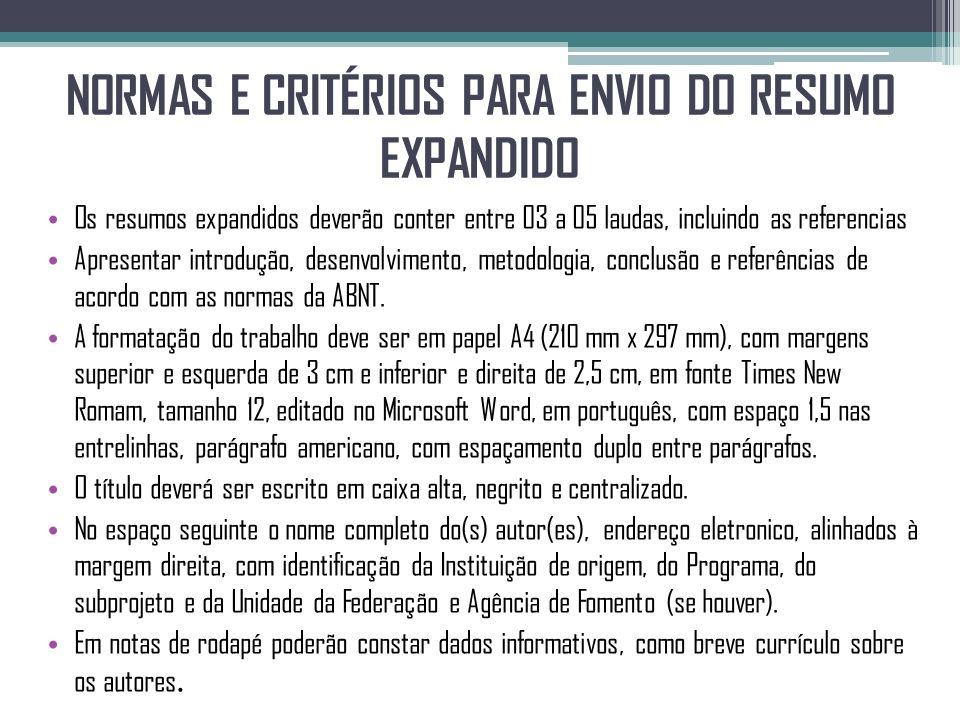 NORMAS E CRITÉRIOS PARA ENVIO DO RESUMO EXPANDIDO