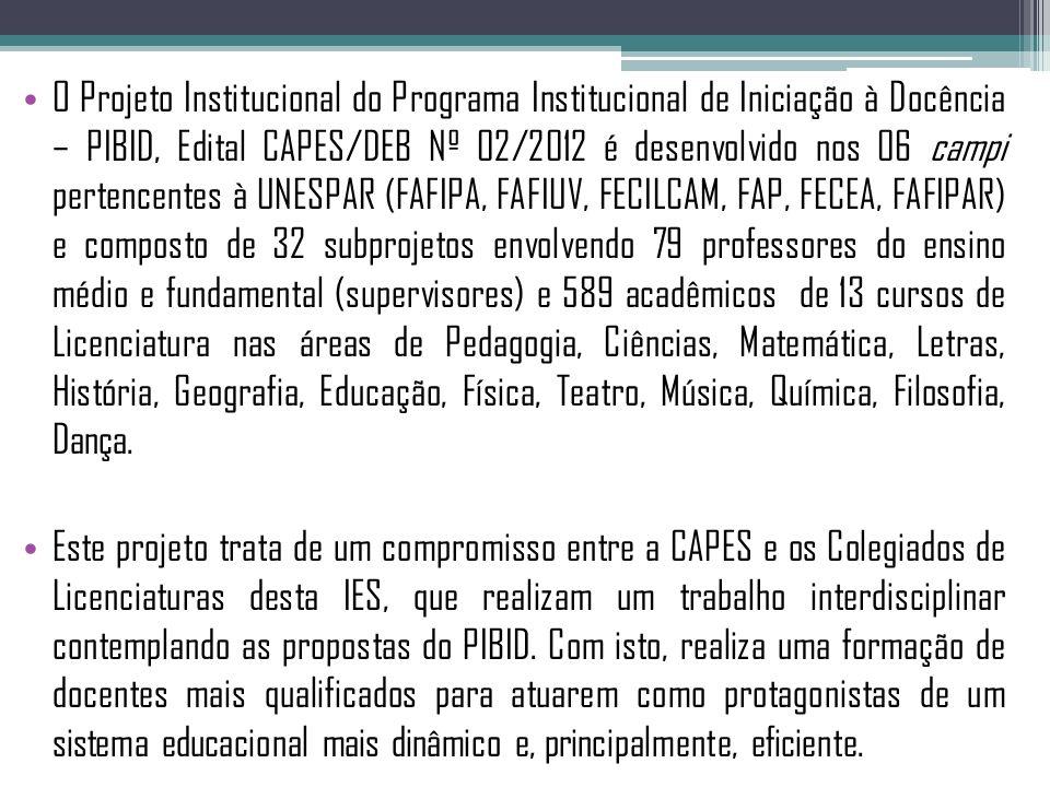 O Projeto Institucional do Programa Institucional de Iniciação à Docência – PIBID, Edital CAPES/DEB Nº 02/2012 é desenvolvido nos 06 campi pertencentes à UNESPAR (FAFIPA, FAFIUV, FECILCAM, FAP, FECEA, FAFIPAR) e composto de 32 subprojetos envolvendo 79 professores do ensino médio e fundamental (supervisores) e 589 acadêmicos de 13 cursos de Licenciatura nas áreas de Pedagogia, Ciências, Matemática, Letras, História, Geografia, Educação, Física, Teatro, Música, Química, Filosofia, Dança.