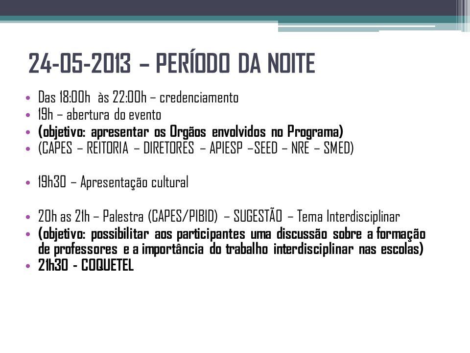 24-05-2013 – PERÍODO DA NOITE Das 18:00h às 22:00h – credenciamento