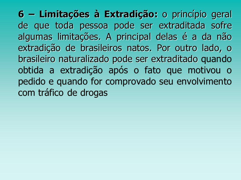 6 – Limitações à Extradição: o princípio geral de que toda pessoa pode ser extraditada sofre algumas limitações.