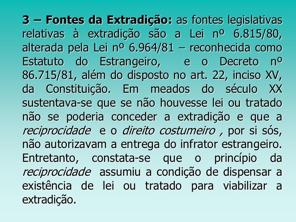 3 – Fontes da Extradição: as fontes legislativas relativas à extradição são a Lei nº 6.815/80, alterada pela Lei nº 6.964/81 – reconhecida como Estatuto do Estrangeiro, e o Decreto nº 86.715/81, além do disposto no art.