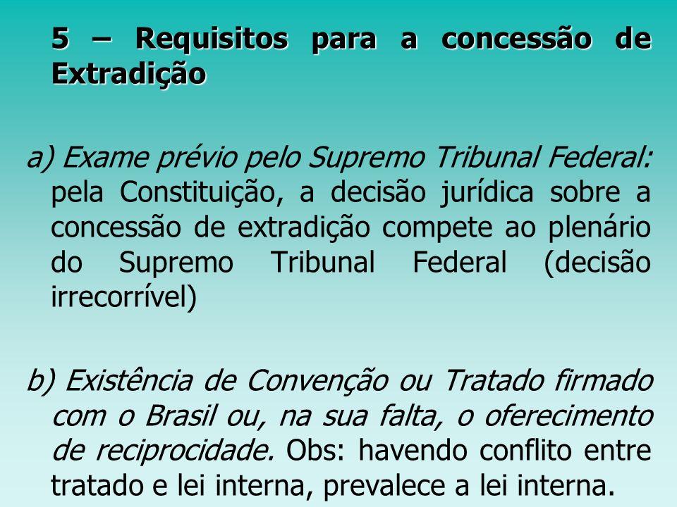 5 – Requisitos para a concessão de Extradição