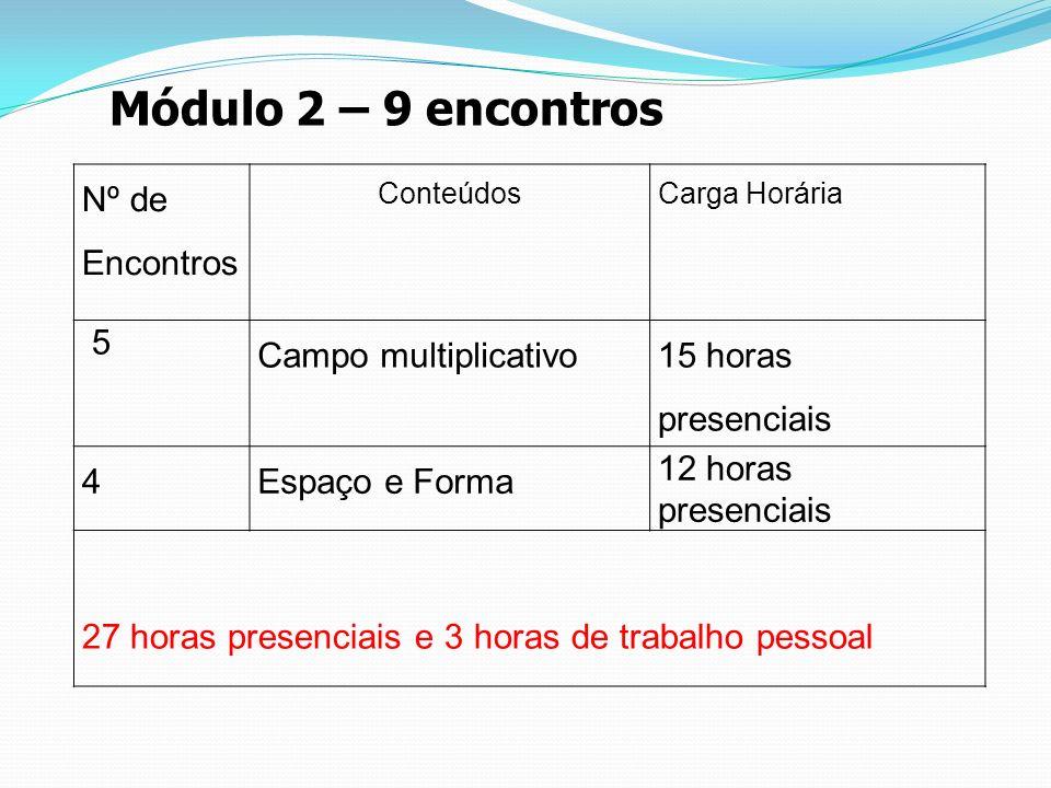 Módulo 2 – 9 encontros Nº de Encontros 5 Campo multiplicativo