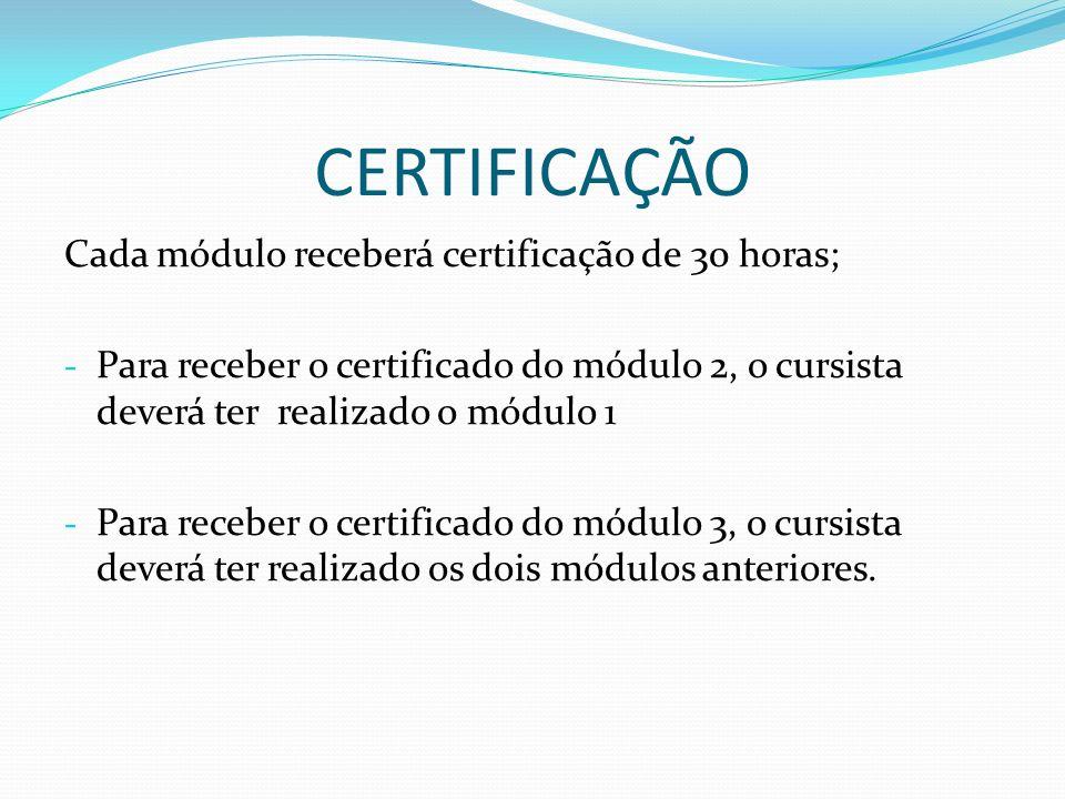 CERTIFICAÇÃO Cada módulo receberá certificação de 30 horas;