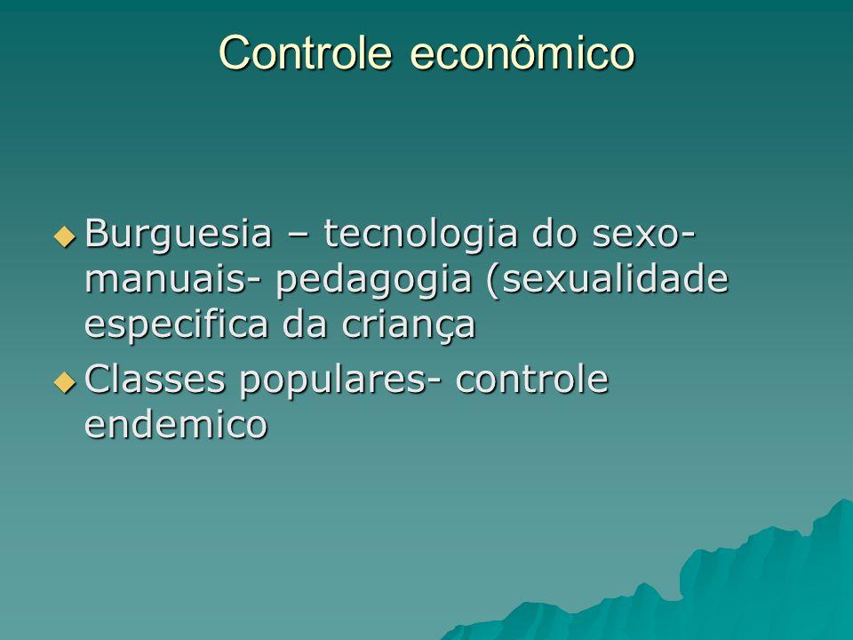 Controle econômico Burguesia – tecnologia do sexo- manuais- pedagogia (sexualidade especifica da criança.