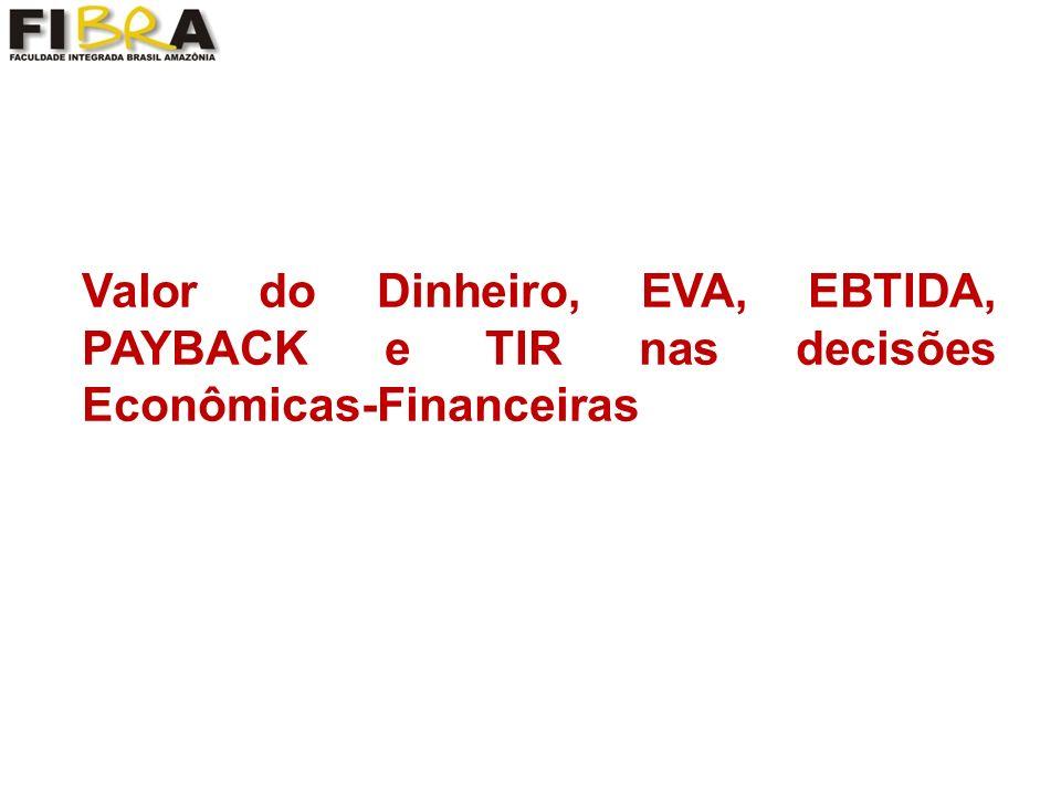 Valor do Dinheiro, EVA, EBTIDA, PAYBACK e TIR nas decisões Econômicas-Financeiras