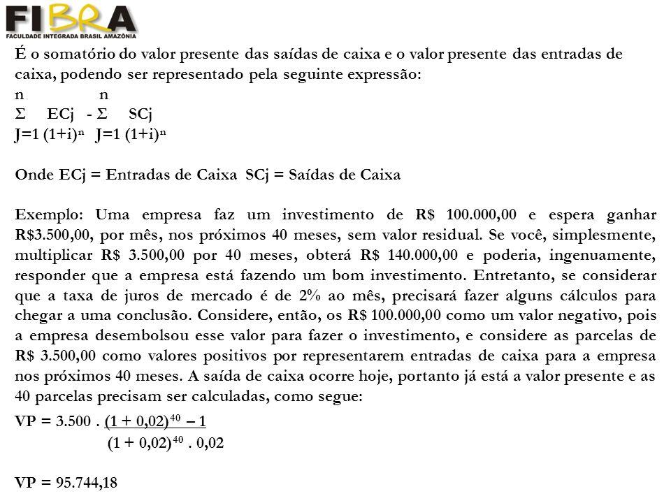 É o somatório do valor presente das saídas de caixa e o valor presente das entradas de caixa, podendo ser representado pela seguinte expressão: