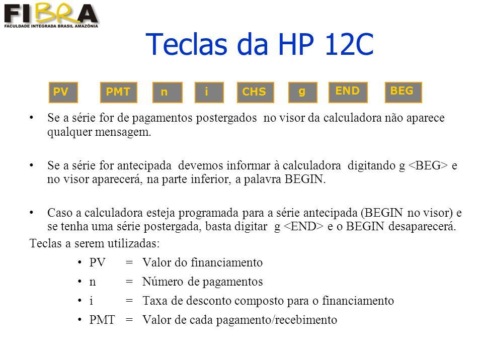 Teclas da HP 12C PV PMT n i CHS. g END BEG.