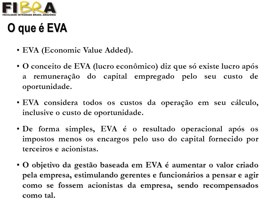 O que é EVA EVA (Economic Value Added).