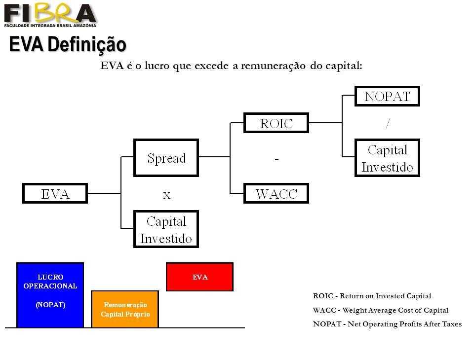 EVA é o lucro que excede a remuneração do capital:
