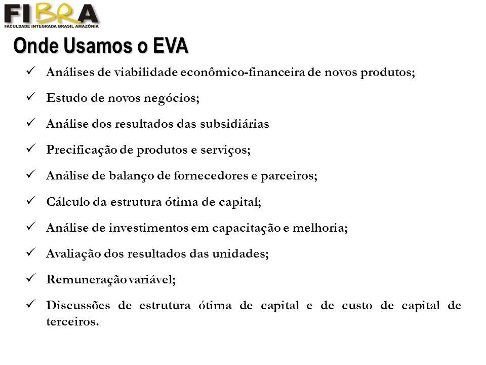 Onde Usamos o EVA Análises de viabilidade econômico-financeira de novos produtos; Estudo de novos negócios;