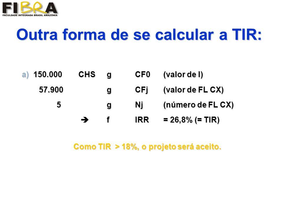 Outra forma de se calcular a TIR: