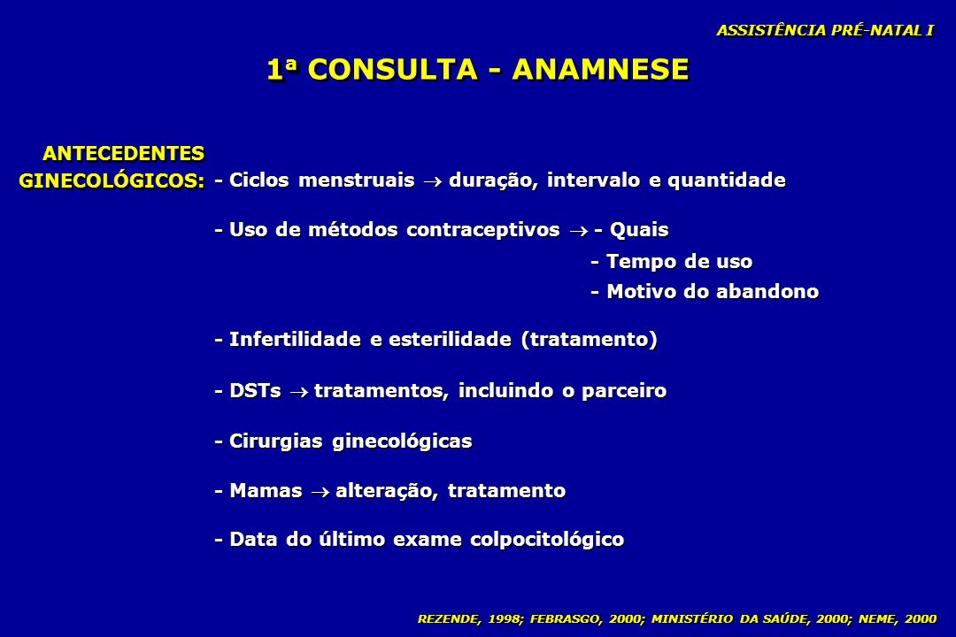 1a CONSULTA - ANAMNESE ANTECEDENTES GINECOLÓGICOS: