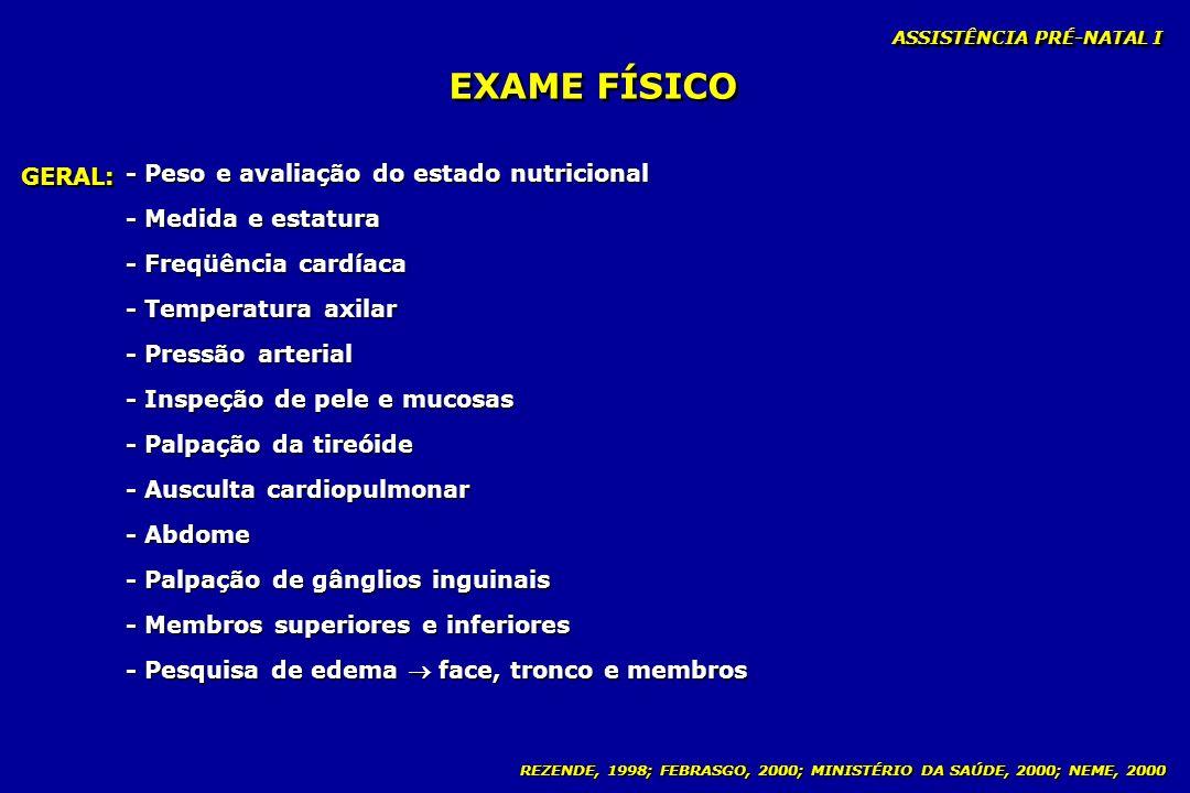 EXAME FÍSICO - Peso e avaliação do estado nutricional GERAL: