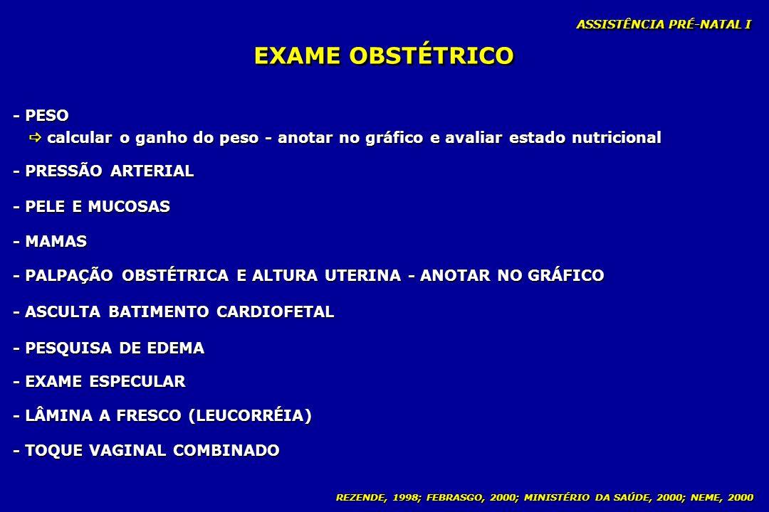 EXAME OBSTÉTRICO - PESO
