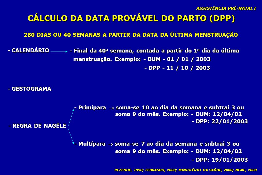 CÁLCULO DA DATA PROVÁVEL DO PARTO (DPP)