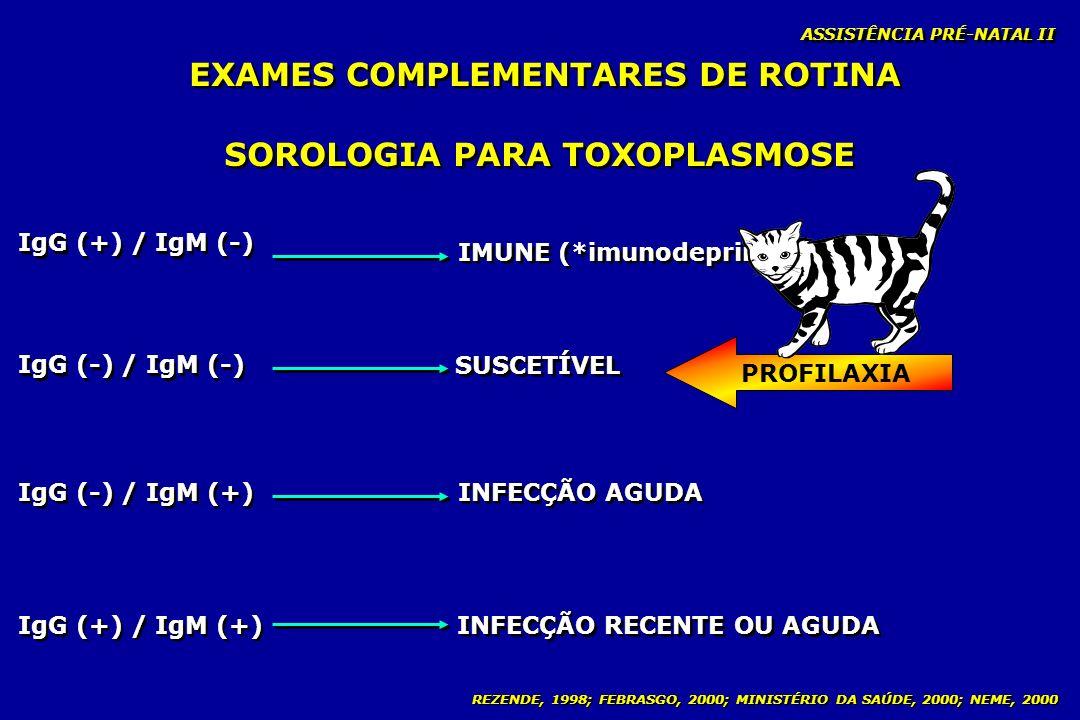 EXAMES COMPLEMENTARES DE ROTINA SOROLOGIA PARA TOXOPLASMOSE