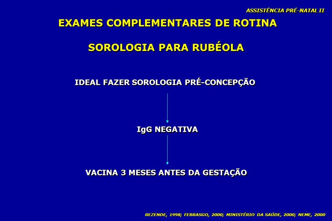 EXAMES COMPLEMENTARES DE ROTINA SOROLOGIA PARA RUBÉOLA