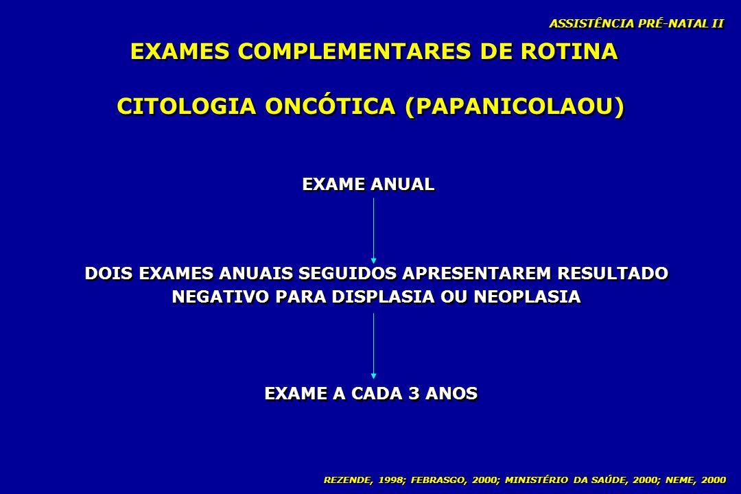 EXAMES COMPLEMENTARES DE ROTINA CITOLOGIA ONCÓTICA (PAPANICOLAOU)