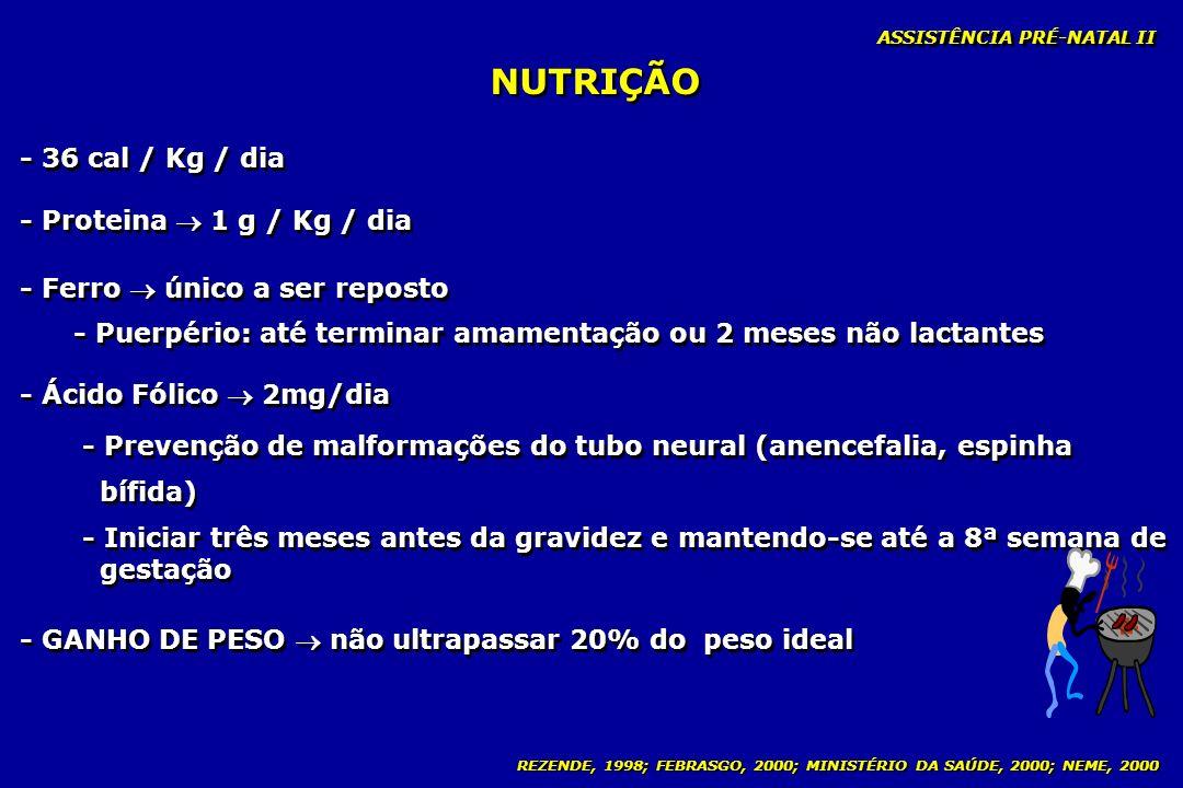 NUTRIÇÃO - 36 cal / Kg / dia - Proteina  1 g / Kg / dia