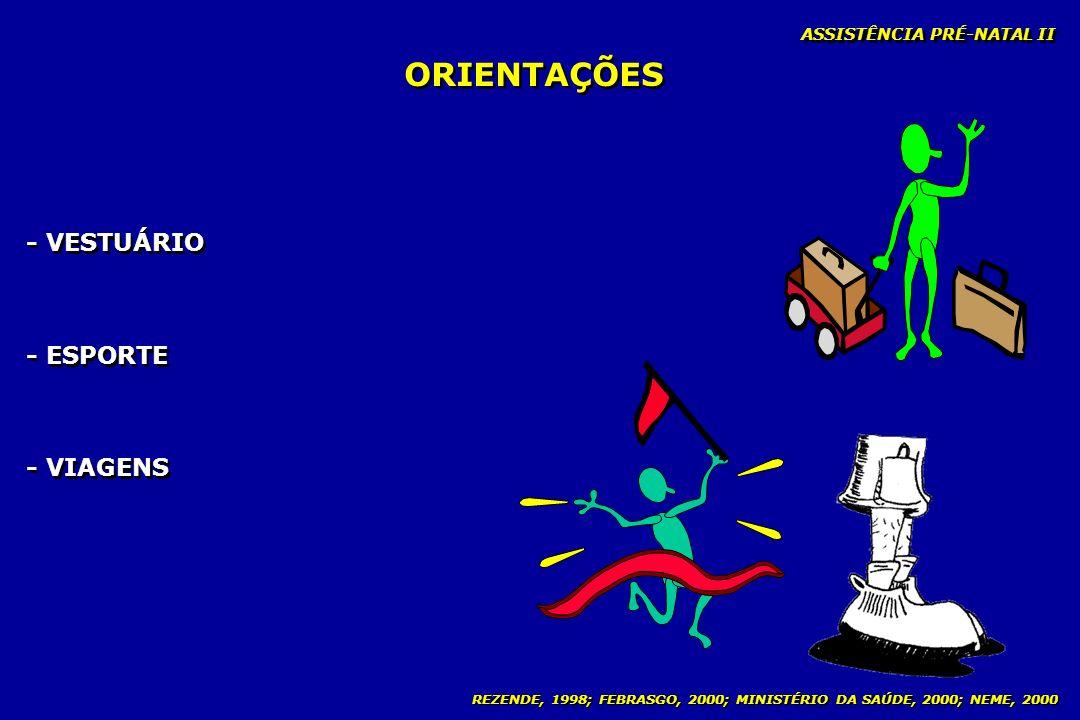 ORIENTAÇÕES - VESTUÁRIO - ESPORTE - VIAGENS ASSISTÊNCIA PRÉ-NATAL II