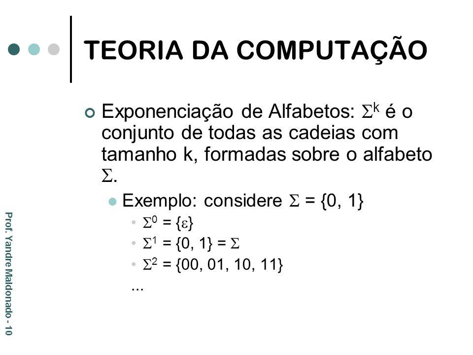 TEORIA DA COMPUTAÇÃO Exponenciação de Alfabetos: k é o conjunto de todas as cadeias com tamanho k, formadas sobre o alfabeto .