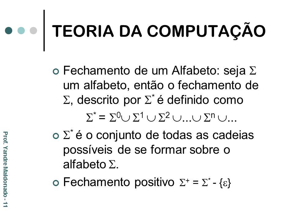 TEORIA DA COMPUTAÇÃO Fechamento de um Alfabeto: seja  um alfabeto, então o fechamento de , descrito por * é definido como.