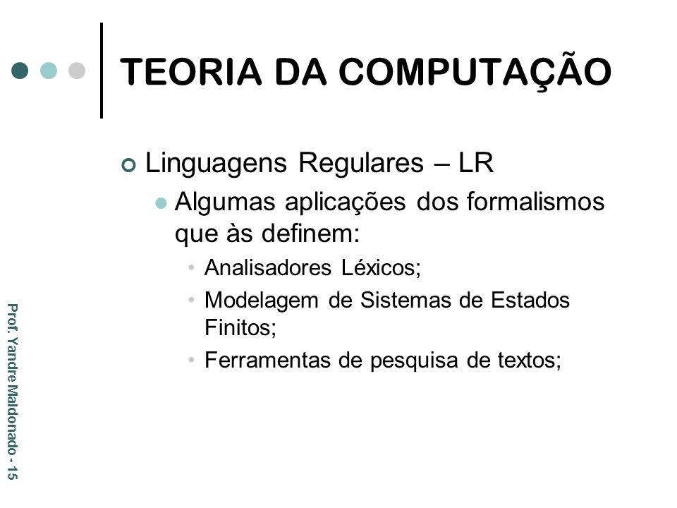 TEORIA DA COMPUTAÇÃO Linguagens Regulares – LR