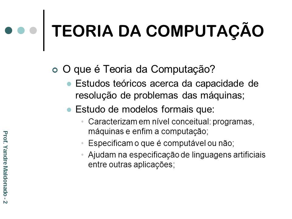 TEORIA DA COMPUTAÇÃO O que é Teoria da Computação