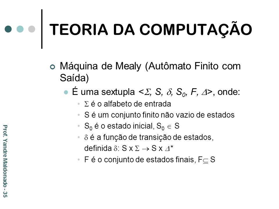 TEORIA DA COMPUTAÇÃO Máquina de Mealy (Autômato Finito com Saída)