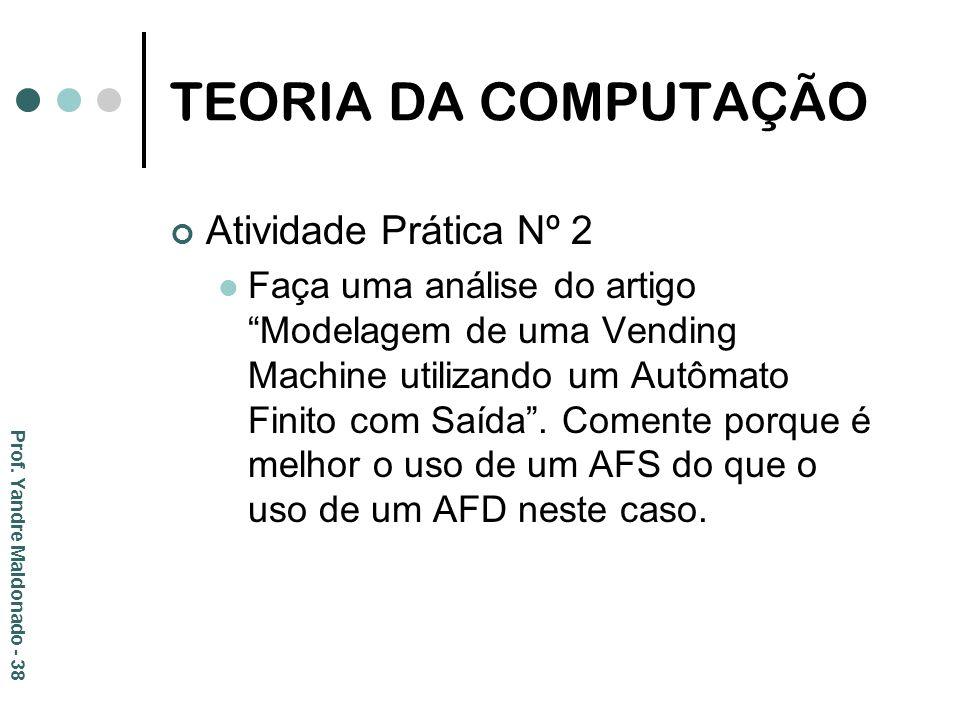 TEORIA DA COMPUTAÇÃO Atividade Prática Nº 2