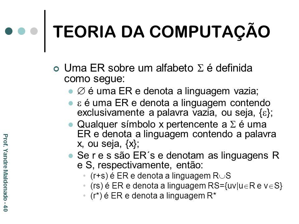 TEORIA DA COMPUTAÇÃO Uma ER sobre um alfabeto  é definida como segue: