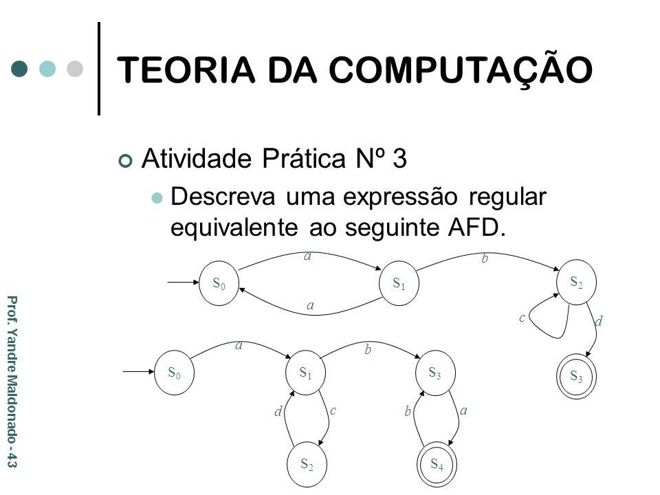 TEORIA DA COMPUTAÇÃO Atividade Prática Nº 3