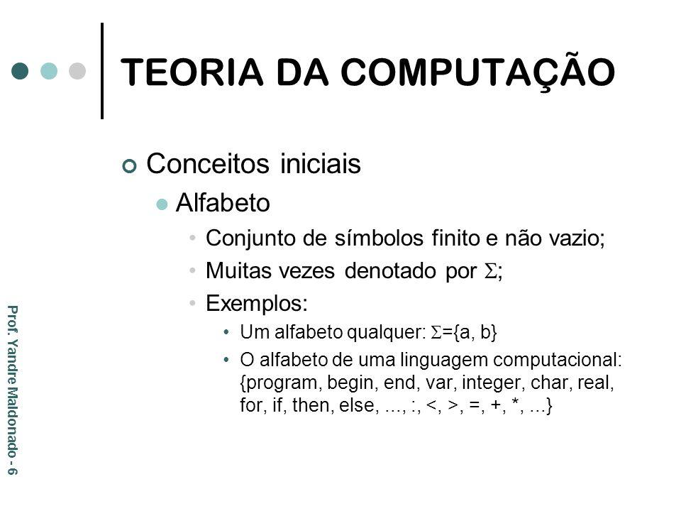 TEORIA DA COMPUTAÇÃO Conceitos iniciais Alfabeto