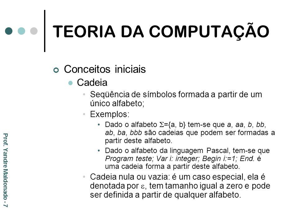 TEORIA DA COMPUTAÇÃO Conceitos iniciais Cadeia