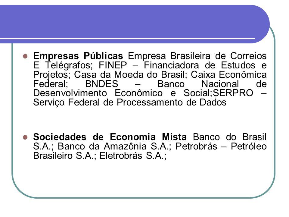 Empresas Públicas Empresa Brasileira de Correios E Telégrafos; FINEP – Financiadora de Estudos e Projetos; Casa da Moeda do Brasil; Caixa Econômica Federal; BNDES – Banco Nacional de Desenvolvimento Econômico e Social;SERPRO – Serviço Federal de Processamento de Dados