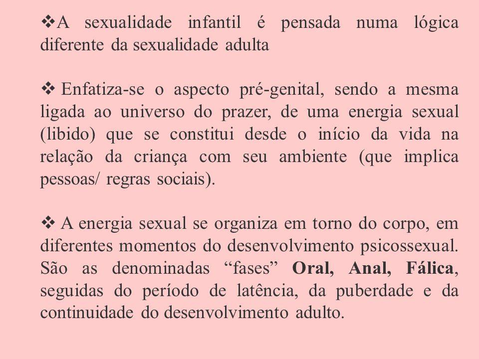 A sexualidade infantil é pensada numa lógica diferente da sexualidade adulta