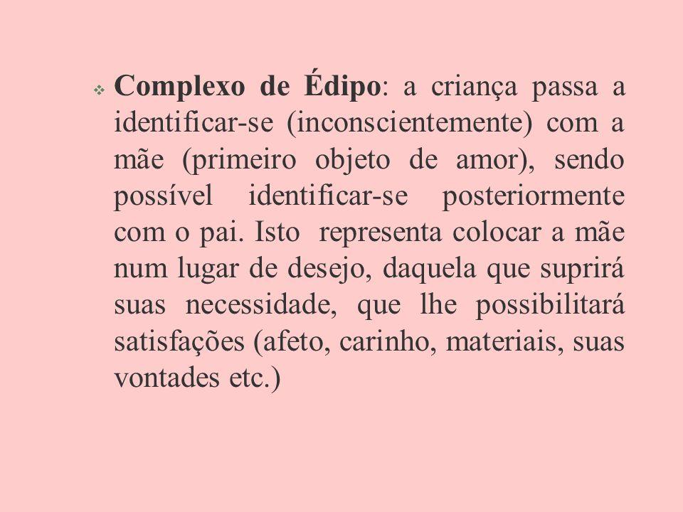 Complexo de Édipo: a criança passa a identificar-se (inconscientemente) com a mãe (primeiro objeto de amor), sendo possível identificar-se posteriormente com o pai.