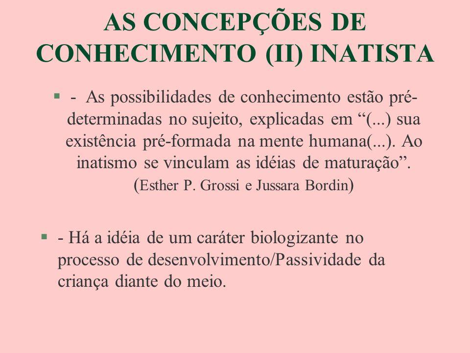 AS CONCEPÇÕES DE CONHECIMENTO (II) INATISTA