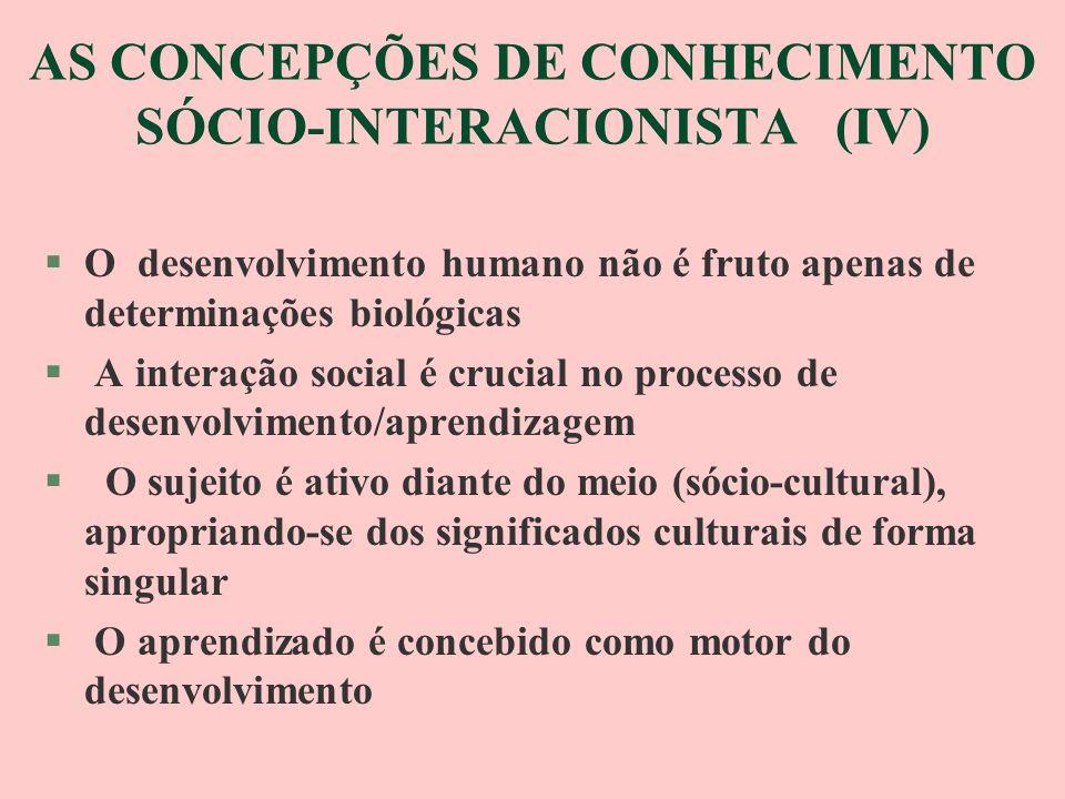 AS CONCEPÇÕES DE CONHECIMENTO SÓCIO-INTERACIONISTA (IV)