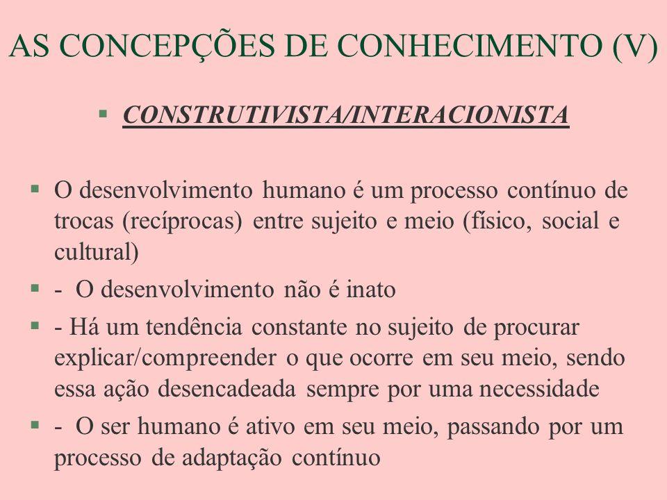 AS CONCEPÇÕES DE CONHECIMENTO (V)