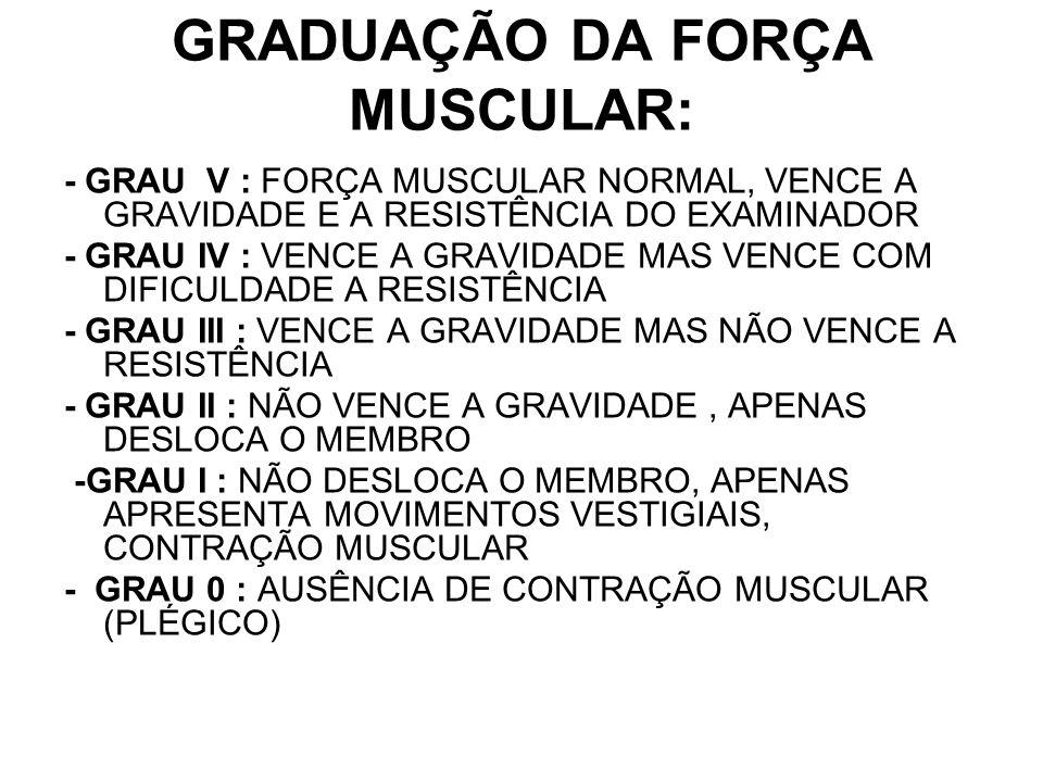 GRADUAÇÃO DA FORÇA MUSCULAR: