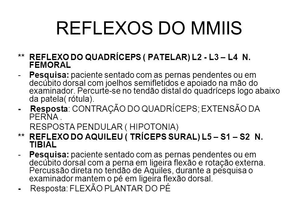 REFLEXOS DO MMIIS ** REFLEXO DO QUADRÍCEPS ( PATELAR) L2 - L3 – L4 N. FEMORAL.